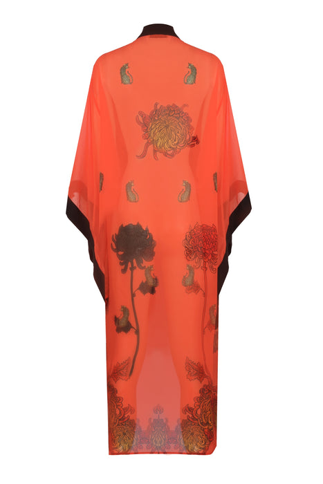 BAGGY SLEEVE COTTON - SILK LONG KIMONO SALMON COLOR LEOPARD