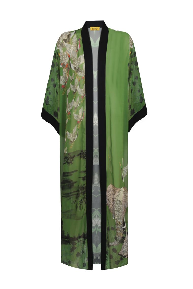 CLASSIC SLEEVE COTTON - SILK LONG KIMONO LILY OF THE VALLEY