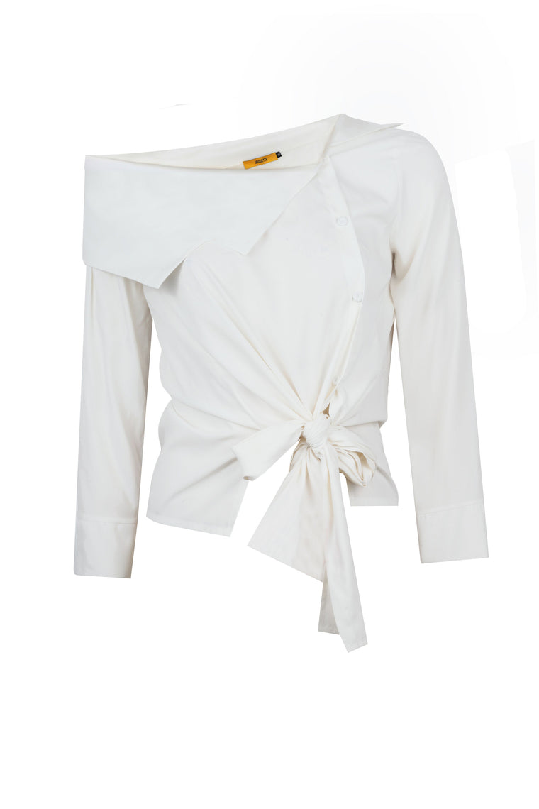 ASYMMETRIC COLLAR SHIRT