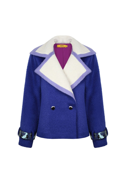 Sax Colored Wool Peacoat - 323