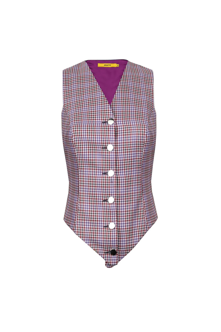 Mixed Colored - Checkered Wool Vest - 310