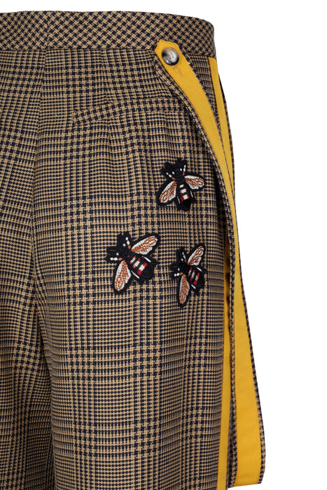 Bee Embroidered Wool Trousers