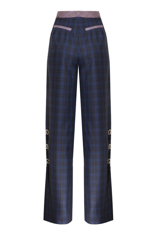 MIXED COLOR MINI CHECKED TROUSERS