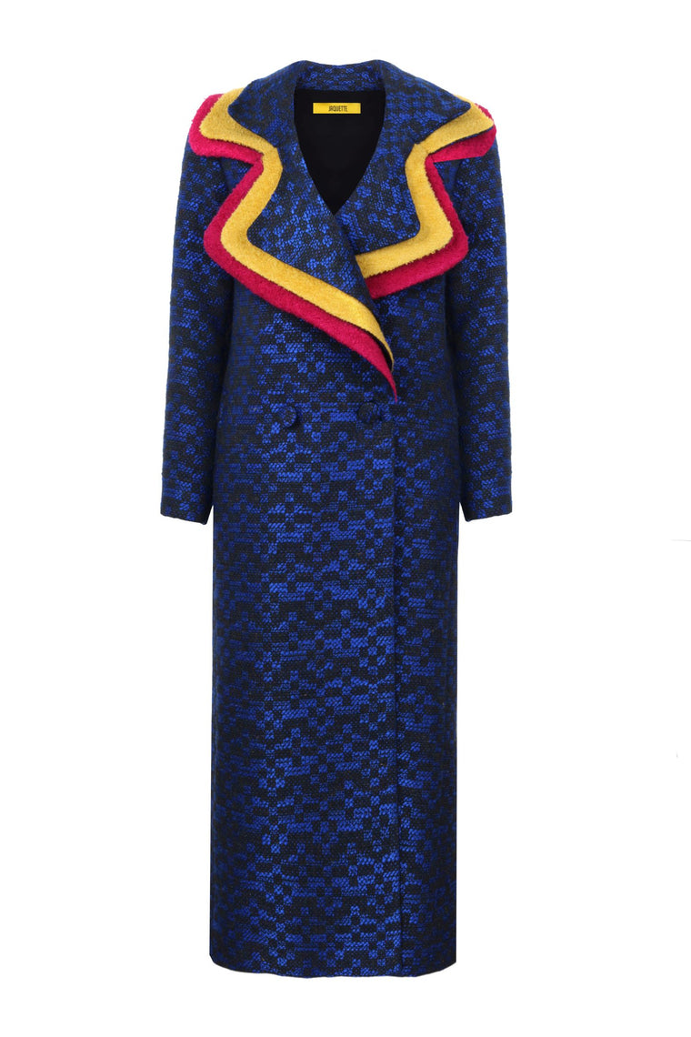 Sax Colored Triplex Neck Coat - 319