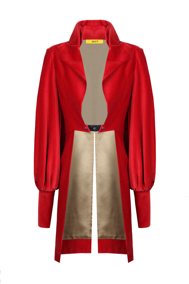 Scarlet Velvet Tail Coat - 318