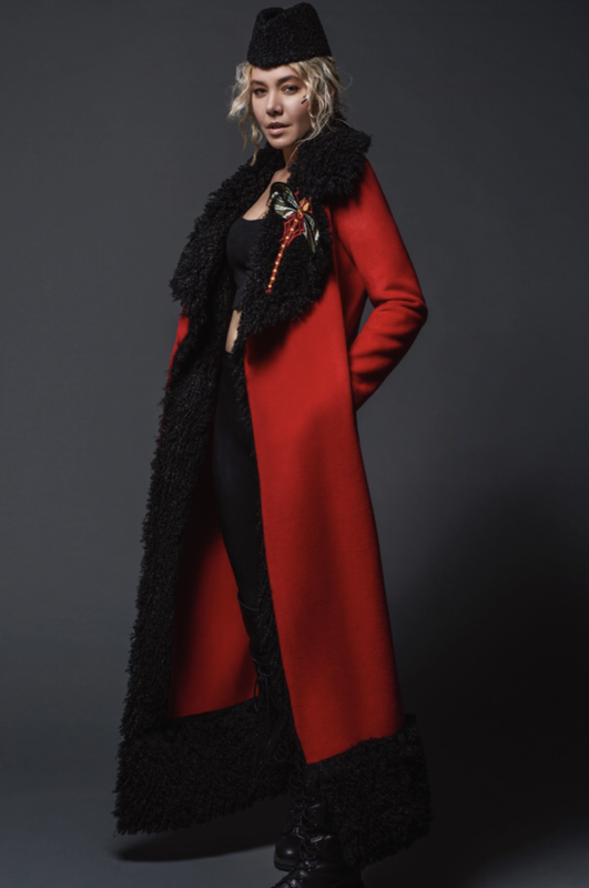 Cashemere Coat With Faux Fur