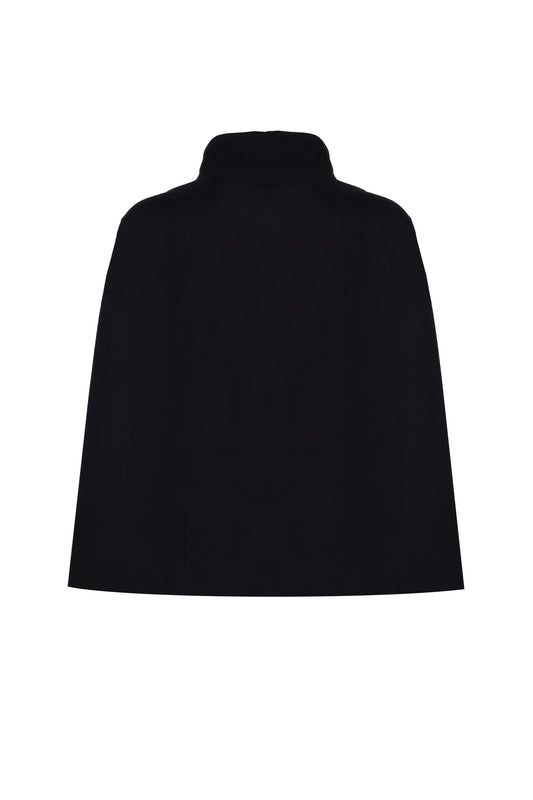 BLACK WOOL CAPE WITHOUT DRAGONFLY EMBROIDERY