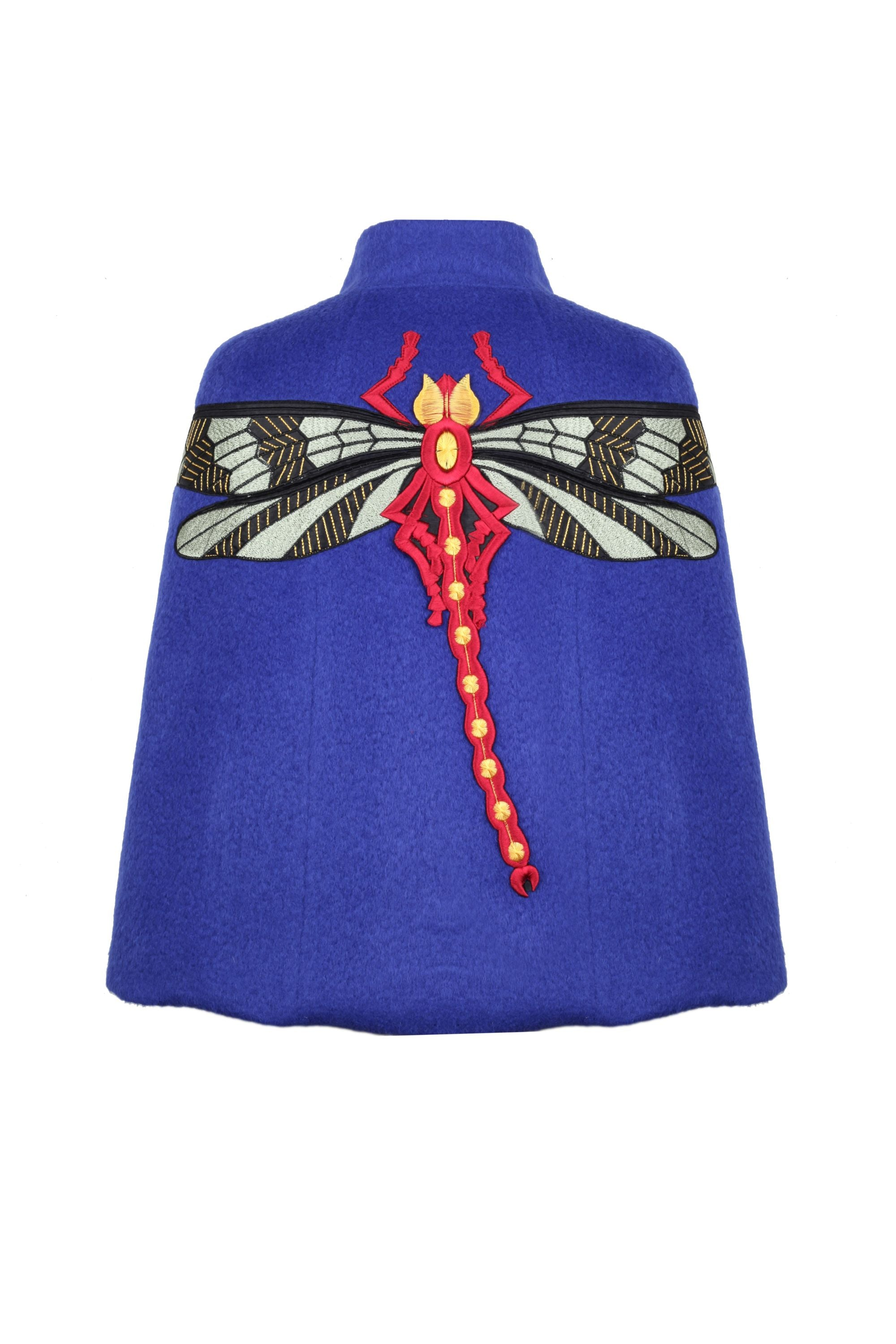 SAX WOOL CAPE WITH DRAGONFLY EMBROIDERY