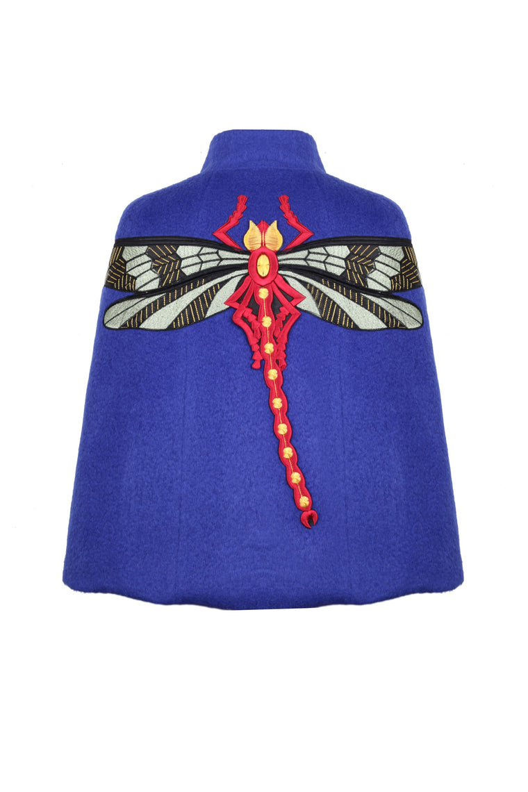 Sax Wool Cape With Dragonfly Embroidery - 326 S