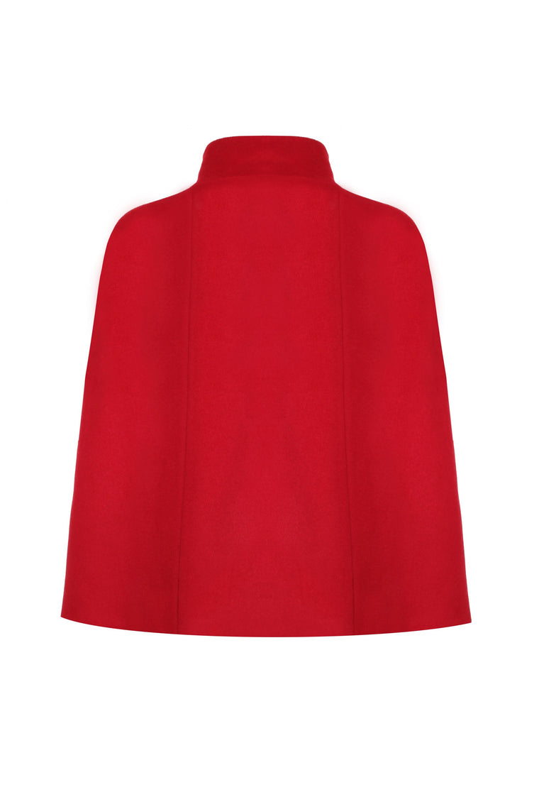 Red Cashmere Cape Without Dragonfly Embroidery - 326 R