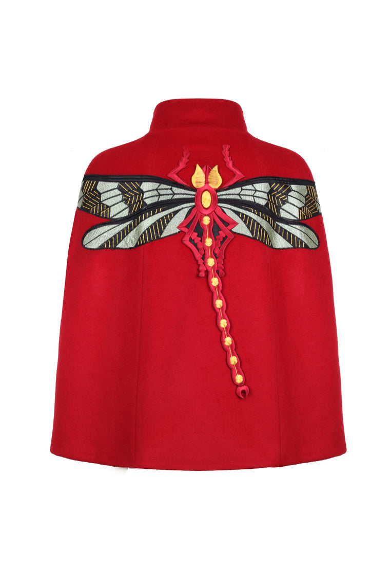 Red Cashmere Cape With Dragonfly Embroidery - 326 R