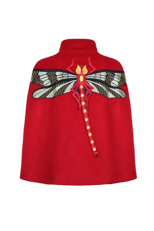 Red Cashmere Cape With Dragonfly Embroidery