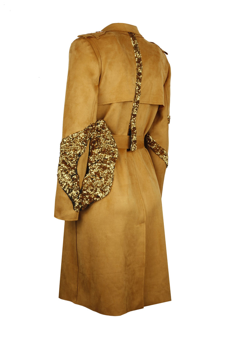 Suede Trenchcoat Embellished With Sequin Lip - 303