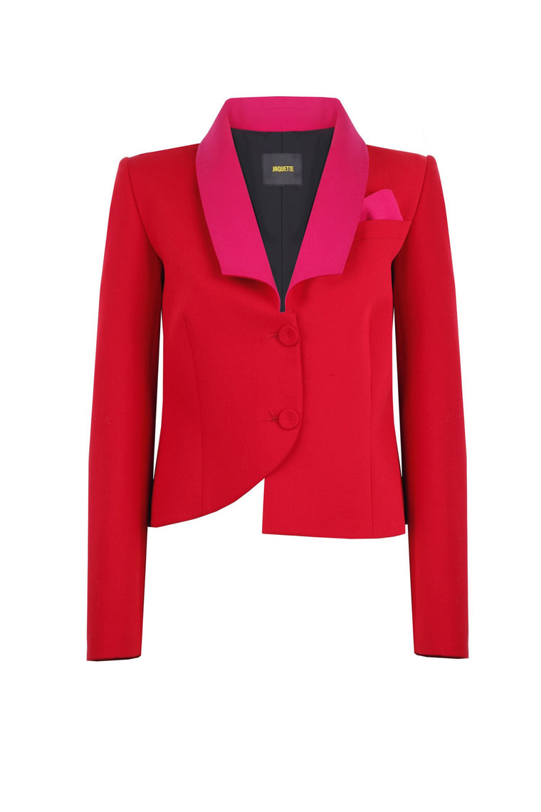 RED TUXEDO JACKET WITH PINK COLLAR
