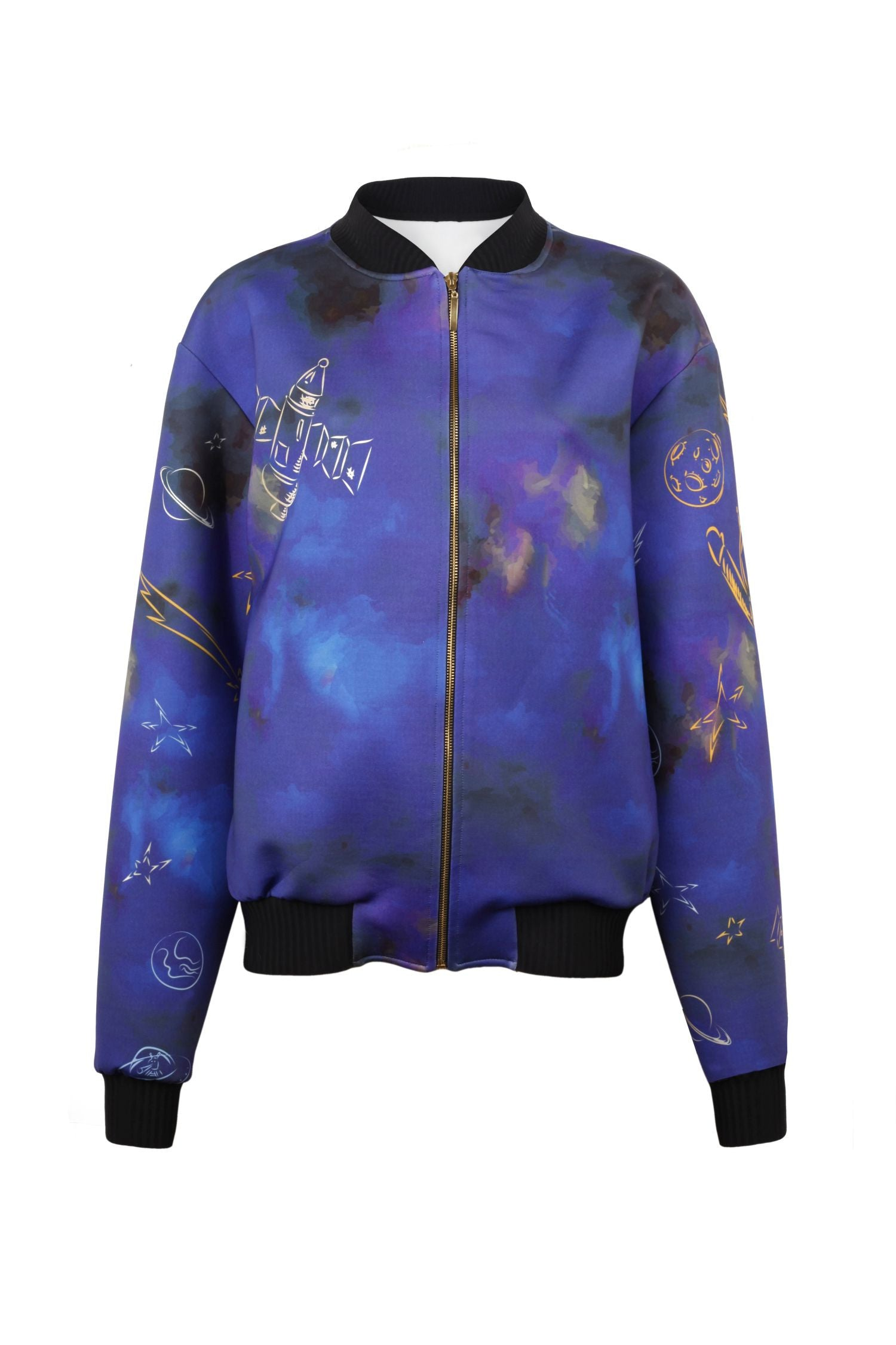 Space Printed Bomber Jacket