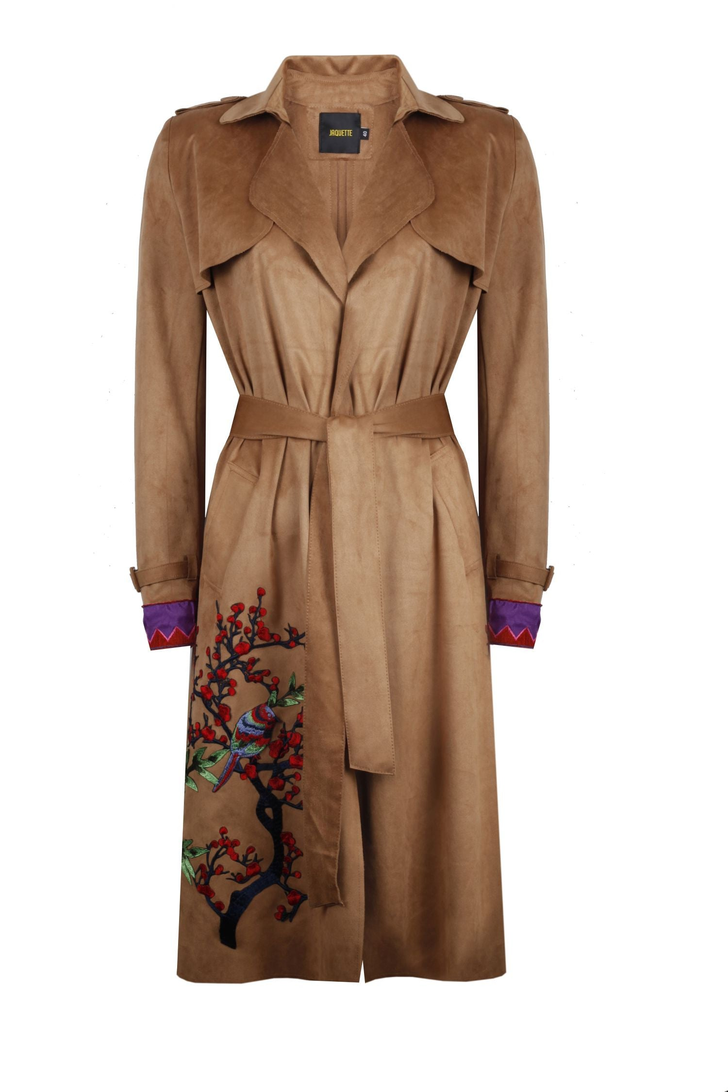 Floral Embroderied Suede Trenchcoat