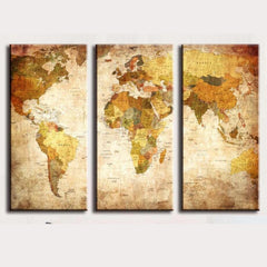 3 panel vintage world map canvas painting unormlz 3 panel vintage world map canvas painting gumiabroncs Gallery