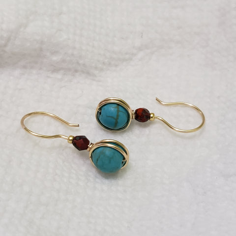 Tourquose earrings gold