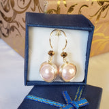 Freshwater pearls 10mm earrings with crystal