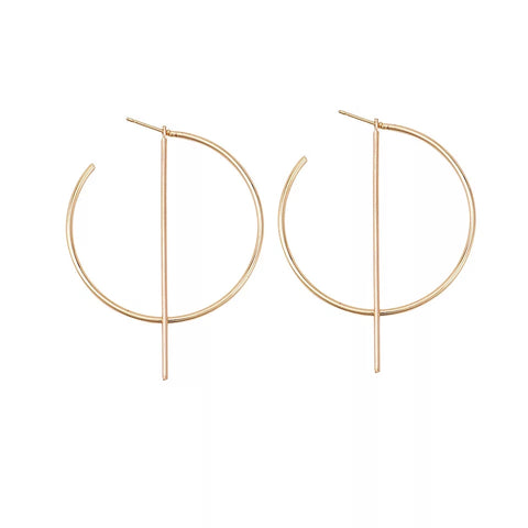 Gold circle earrings with line charm