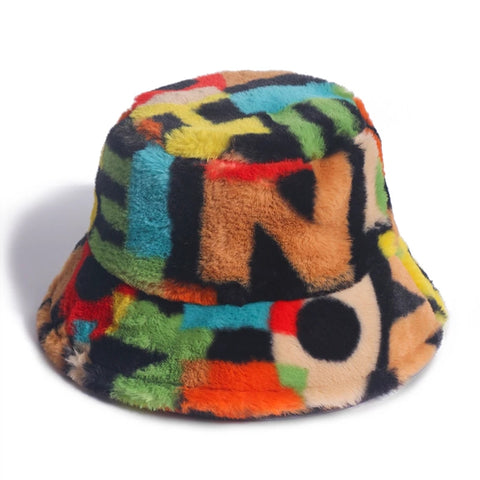 90s faux fur bucket hat