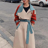 Stylish autumn patchwork hit colour trench coat (red + sky blue)