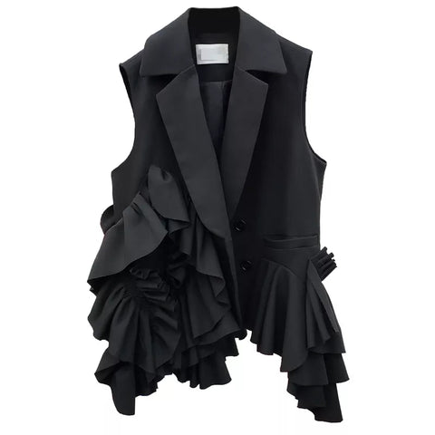 Sleeveless extra ruffles blazer top