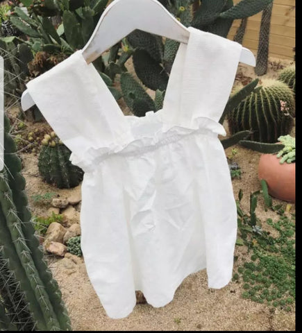 The SUN dress☀️ - Girls thin cotton summer dress (White)