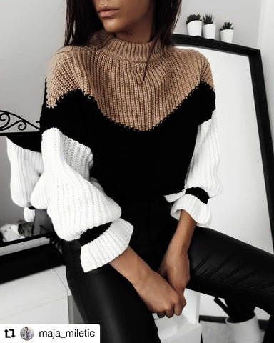 COLOUR BLOCK KNITWEAR IN NEUTRAL COLOURS. As seen on 🔥 maja_miletic