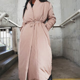 Oversized long puffer belted coat