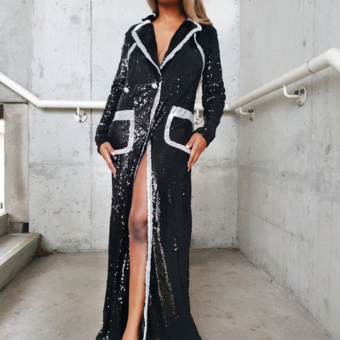 Long Deep V double breasted jacket dress