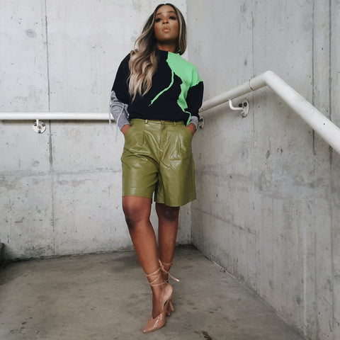 Green PU leather bermuda shorts💚