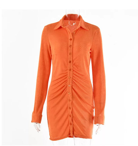 Pleated button down collar dress 🧡
