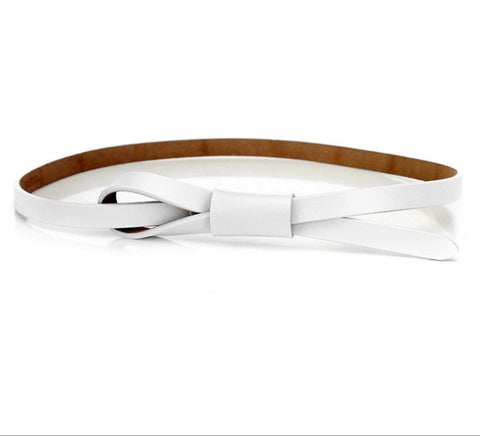 White faux leather self tie  belt