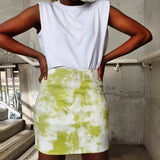 high waist tye dye print skirt