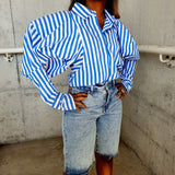 Elegant Striped puff sleeves blouse