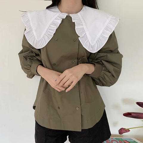Vintage collar latern sleeves blouse