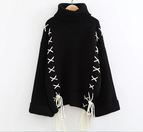 Lace up knitted sweater (Black)