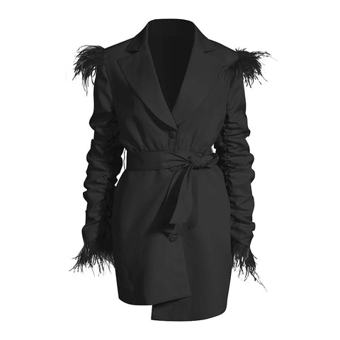 Pleated ruched feathered blazer dress🖤