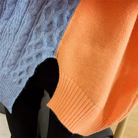 Half turtleneck oversize colourblock sweater🍊