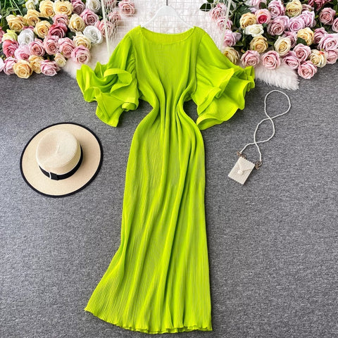 Elegant french style ruffled pleated long dress