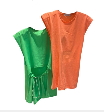 CANDY COLOURED CASUAL backless T-SHIRT WITH DRAWSTRING💚