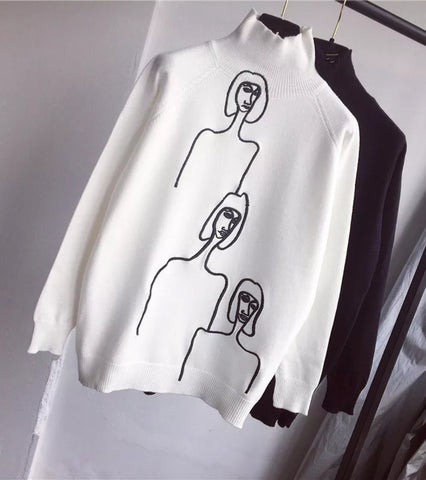 3 amigos - turtle neck monochrome jumper white