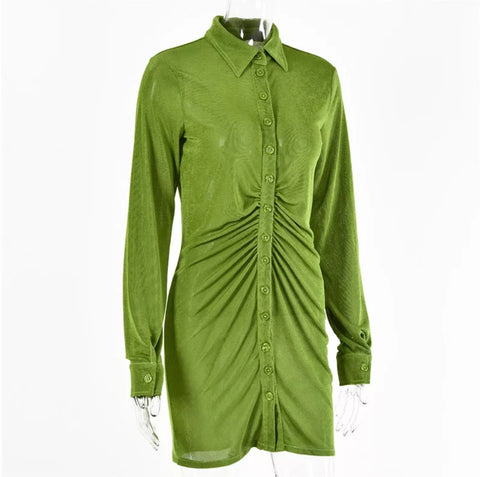 Pleated buttoned down collar dress💚