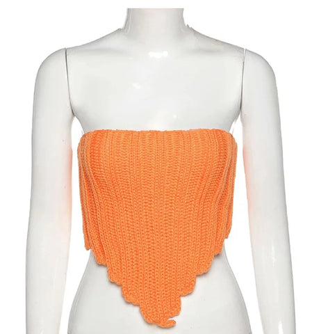 SPING KNIT - STRAPLESS KNIT TOP