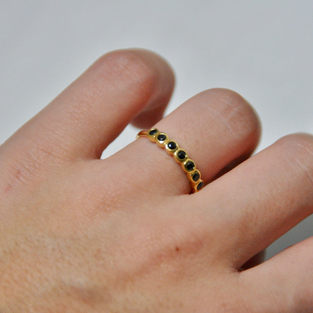 Anillo Circonitas Black & Gold