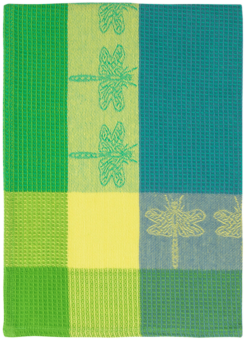 Blue Green Dragonfly Waffle Weave Towel