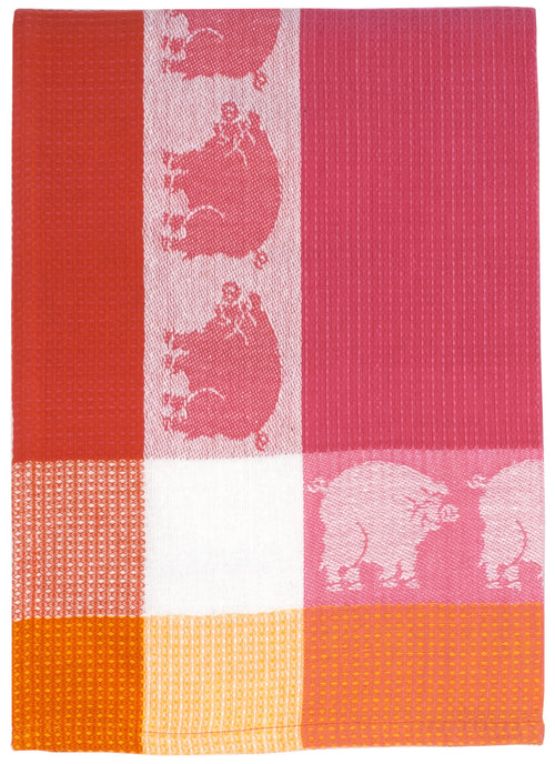 Pink Pig Waffle Weave Dish Towel