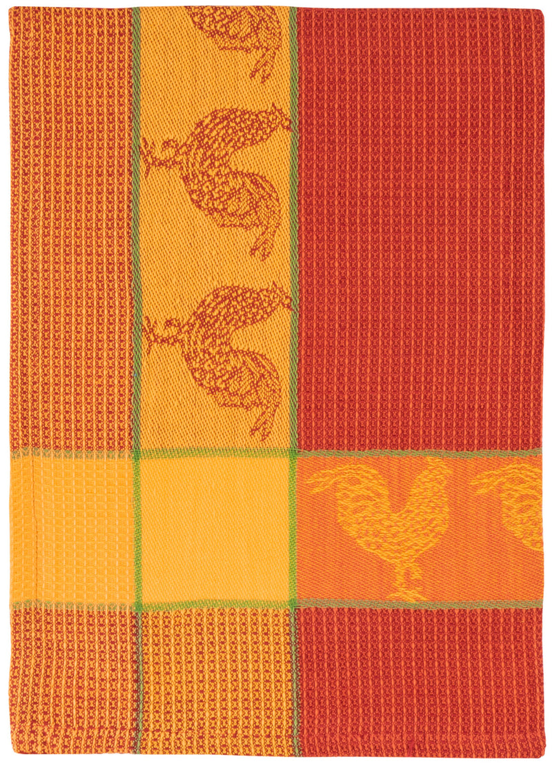 Red Orange Rooster Waffle Weave Towel