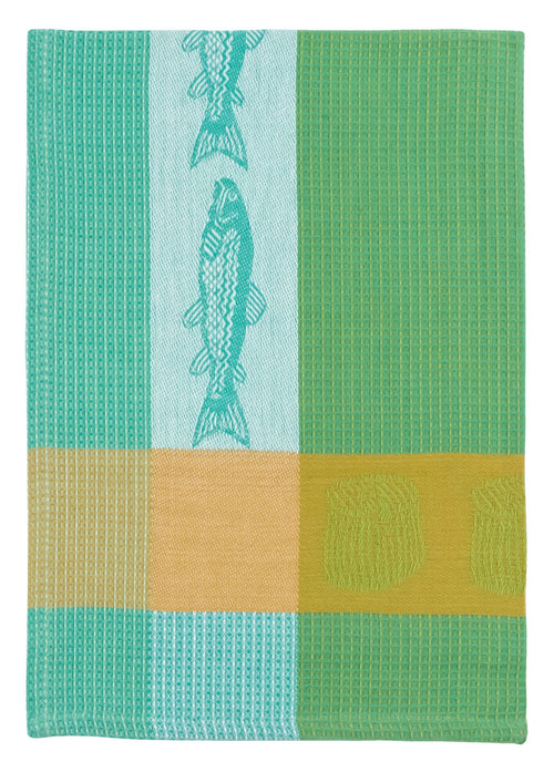 Blue Green Trout Fish Waffle Towel